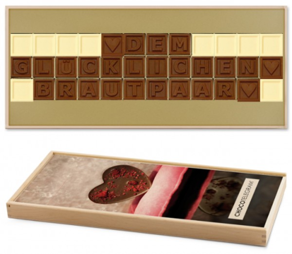 """Schokoladen-Telegramme """"HOCHZEITSTAG / HOCHZEIT"""""""