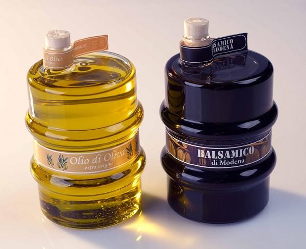 Balsamico- und Olivenöl, im Glasfass