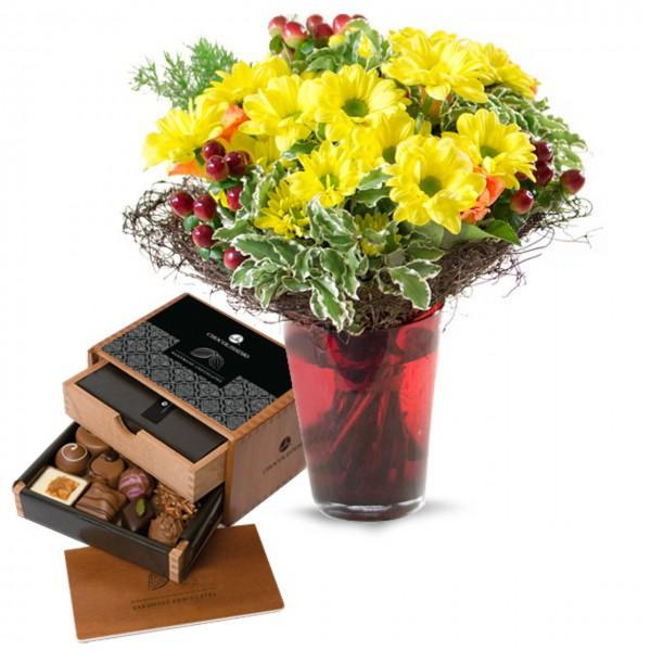 Blumenstrauß 'Sunset' & Chocolaterie