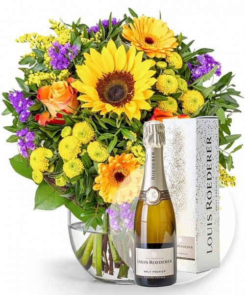 Blumen und Champagner