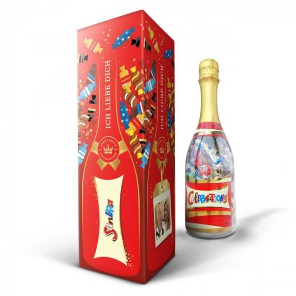 Celebrations Flasche mit Namen auf Verpackung