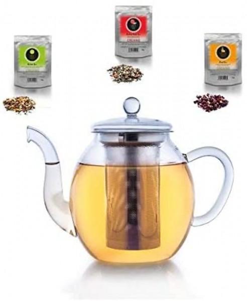 Teekanne und 3 x Tee