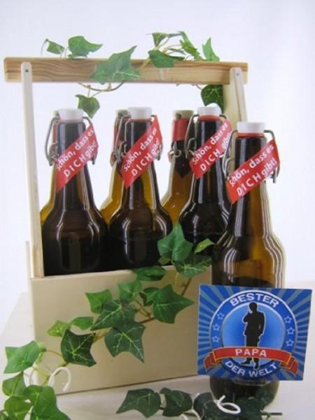Bierträger aus Holz Spruch Papa