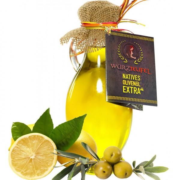 Natives Olivenöl mit Zitronenöl