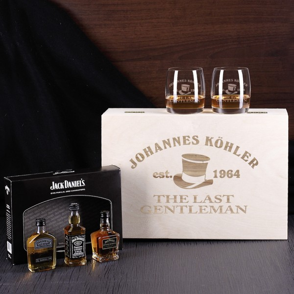 jack daniels whisky set in holzbox gl ser un bertreffliches geschenk. Black Bedroom Furniture Sets. Home Design Ideas