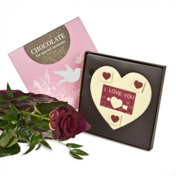 Rote Rose & 'I love you'-Schokoladentafel