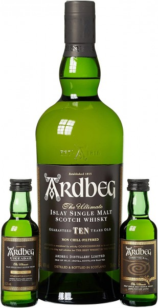 Ardbeg Whisky 10 Jahre mit 2 Miniaturen